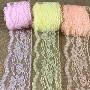 "Raschel Trim Lace 3"" Wide, pack of 5 yards each of 3 colors: Pink, Peach, Yellow, Floral Design Poly Lace Multi-Use: Garments Decorations Crafts"
