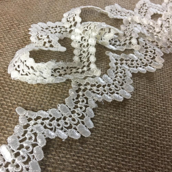 "Trim Lace Scalloped Dots Venise 2"" Wide Choose Color Double Border, Multi-Use ex: Garments Bridal Waistband Decoration Crafts Veils Costumes"
