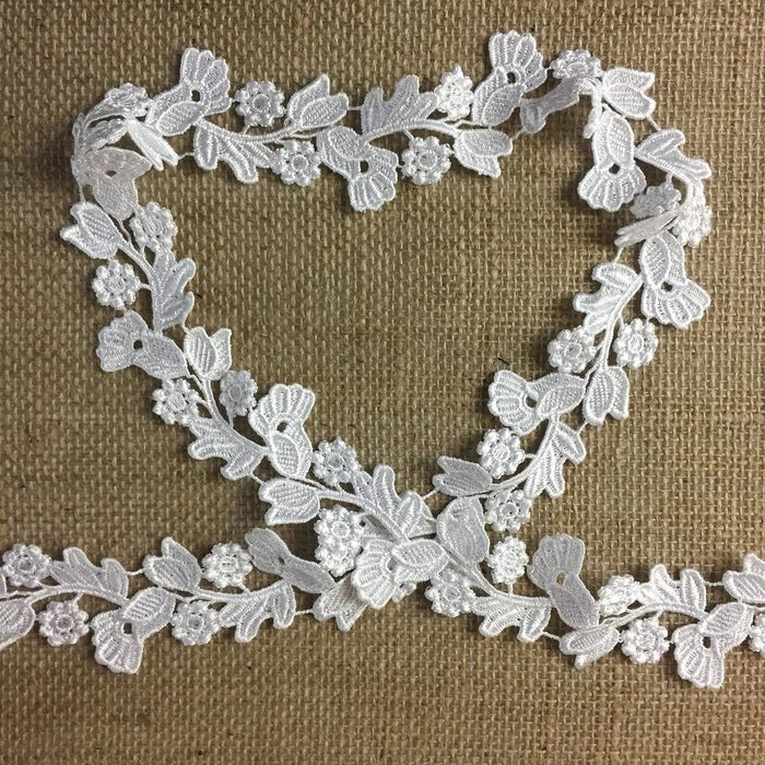 "Venise Trim Lace Floral Garden Run Double Border 2"" Wide, White. Many Uses ex.DIY Sewing Garments Belt Sash Waistband Crafts Veils Costumes"