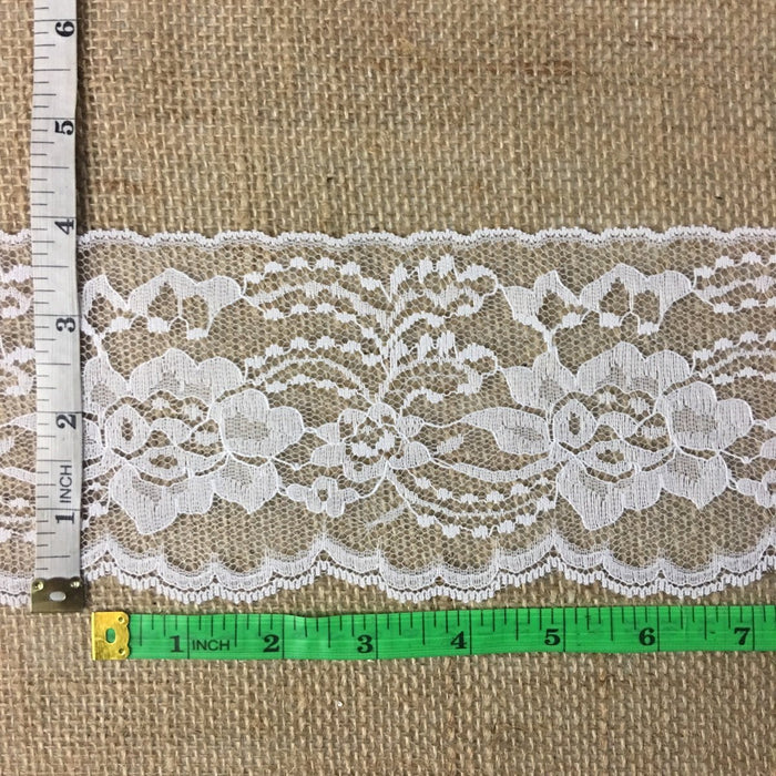 "Raschel Trim Lace Beautiful Floral 4"" Wide, Choose Color. Use Examples: Bridal Wedding Edging Garments Decorations Arts Crafts Table Runner"