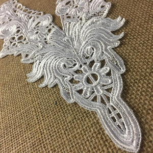 "Yoke Applique Venise Lace V-Neck Elegant High Quality Neckpiece Embroidery Collar, 14"" Long, Choose Color, Use Examples: Garments Tops DIY Sewing Costumes"
