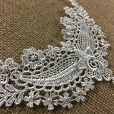 "Lace Applique Piece Beaded Motif Embroidery Venise Patch Neckpiece, 4""x8"", White. Multi-use Garments DIY Sewing Tops Costumes Decoration"