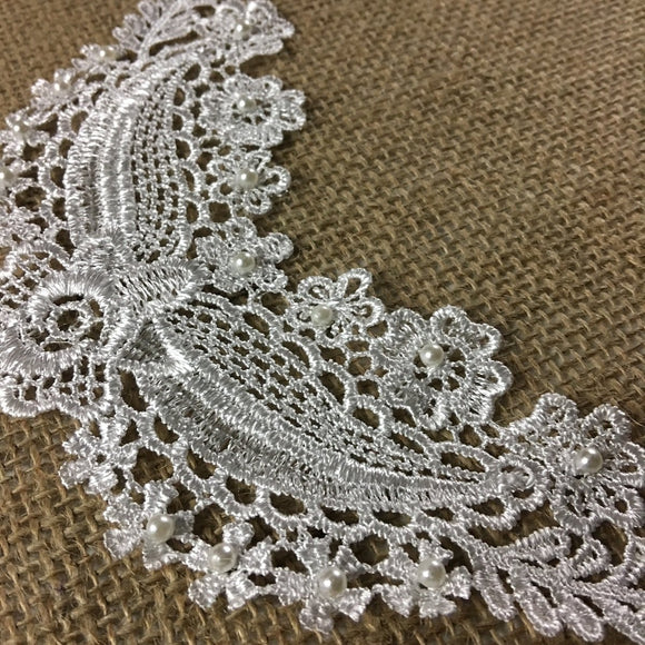Lace Applique Piece Beaded Motif Embroidery Venise Patch Neckpiece, 4