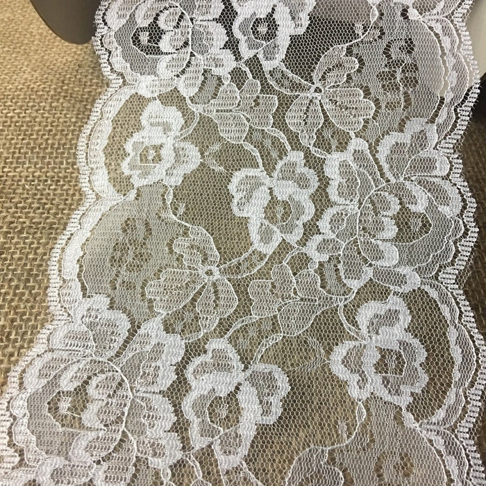 "Raschel Trim Lace White 5"" Wide Double Border Symmetrical Beautiful for Garments Table Runner Decorations Crafts Veils Extensions Costumes"