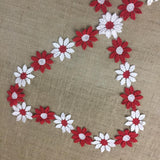 "2-Color Trim Lace, Red and White Daisy Flowers, 2"" Wide, Vintage Symmetrical Double Border Bridal Wedding Waistband Decoration Crafts Costumes"
