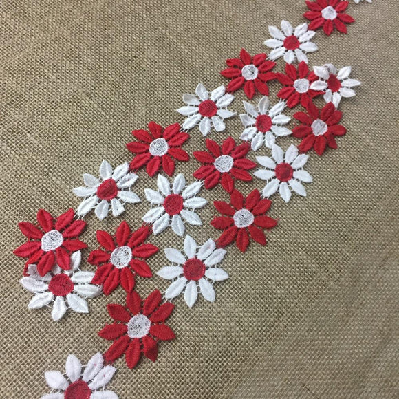2-Color Trim Lace, Red and White Daisy Flowers, 2