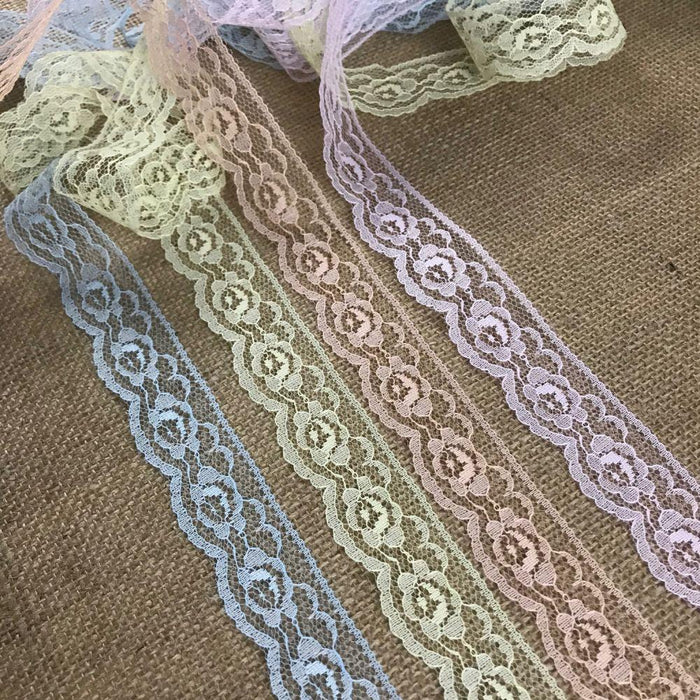 "Raschel Trim Lace 1.25"" Wide, pack of 10 Yards each of 4 colors: Light Blue, Pink, Peach, Yellow, Floral Design Poly Lace Multi-Use: Garments Decorations Crafts"