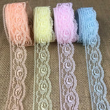 "Raschel Trim Lace 1.25"" Wide, pack of 5 yards each of 4 colors: Pink, Peach, Yellow, Floral Design Poly Lace Multi-Use: Garments Decorations Crafts"