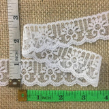 "Raschel Trim Lace Scalloped Rising Lotus Design, 1"" Wide, White, Multi-Use ex: Garments Decoration Scrapbook Veils Dolls Costumes"