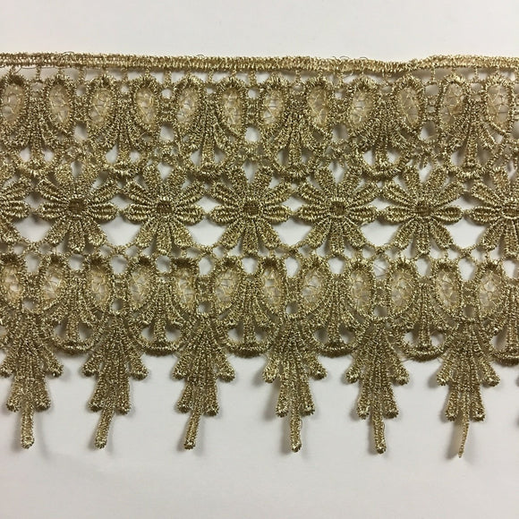 Gold/Silver Trim Lace Metallic Antique Vintage Venise, 4.5