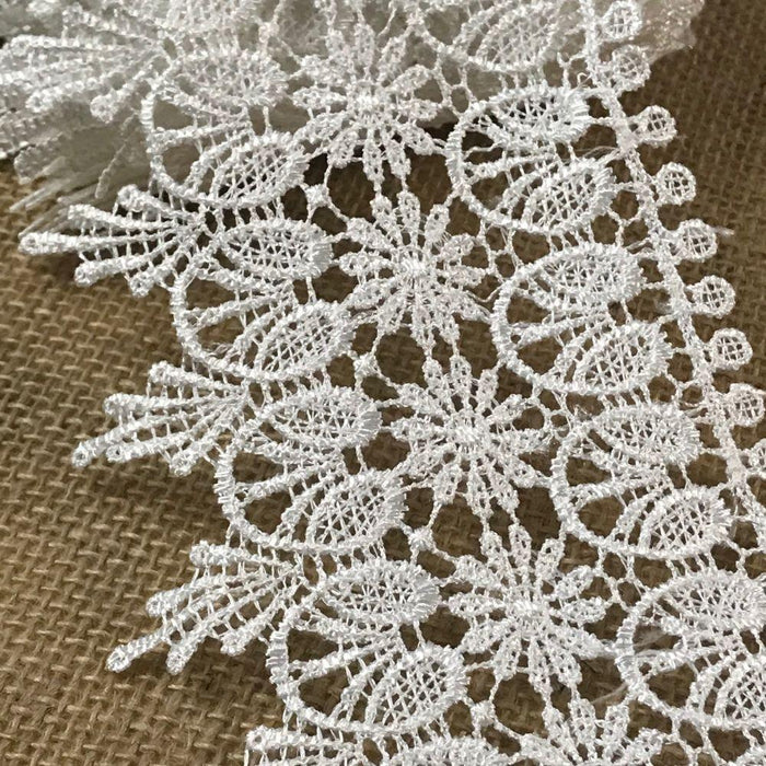 "Lace Trim Daisy Heart Design Venise, 4.5"" Wide, White. Multi-Use Garments Bridal Decoration Slip Extender Veils Table Runner Table Runner DIY Sewing"