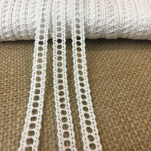 "Cluny Trim Lace Natural Cotton 3/8"" Wide White Vintage Antique Irish Venise Yardage Multi-Use Garments Decorations Crafts Skirt Costumes"