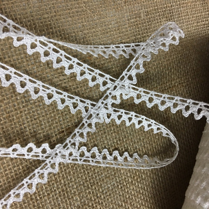 "Cluny Trim Lace Natural Cotton, Under 0.5"" Wide, Ivory Yardage Vintage Antique Irish Edging, Multi Use: Garments Arts Crafts Costumes DIY Sewing"