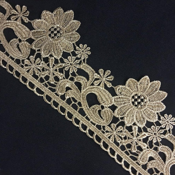 Gold/Silver Trim Lace Metallic Antique Vintage Venise, 3.25