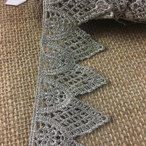 Silver Trim Lace Metallic Antique Vintage Venise, 1.75