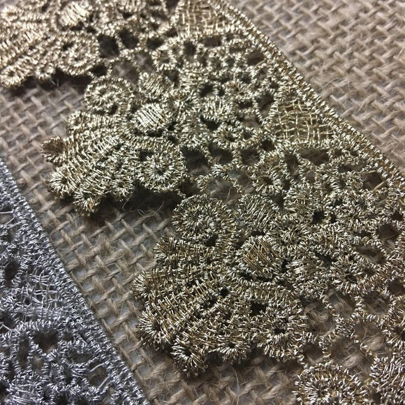 Gold/Silver Trim Lace Metallic  Scalloped Antique Vintage Venise, 1.75