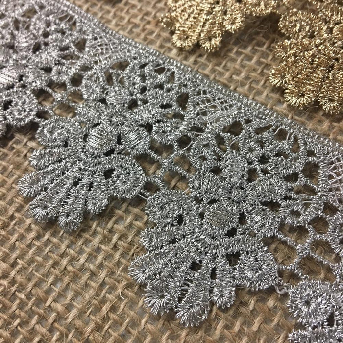 "Gold/Silver Trim Lace MetallicScalloped Antique Vintage Venise, 1.75"", Choose Color, Multi-Use Garments Decoration Altar Costumes Crowns"