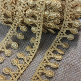 "Gold Trim Lace Metallic Geometric Triangle Dot Medallion Necklace Design Venise, 1"" Wide, Multi-Use Garments Arts Crafts Costumes Crowns"