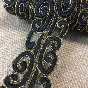 "Gold & Ivory Trim Lace Bohemian Versace Design Double Border, 1.5"" Wide, Multi-Use Belt Sash Waistband Garments Crafts Veils Costumes Bridal"