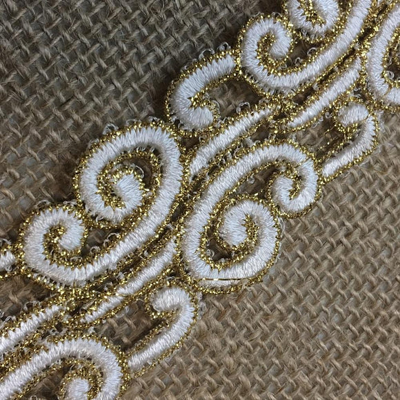 Gold & Ivory Trim Lace Bohemian Versace Design Double Border, 1.5