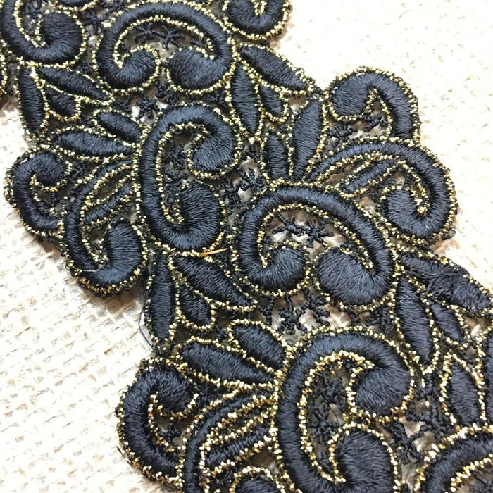"Gold & Black Trim Lace Happy Chappy Design, 2.75"" Wide Double Border. Multi-Use Belt Sash Waistband Garments Crafts Veils Costumes Bridal"