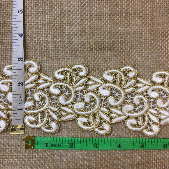 Gold & Ivory Trim Lace Happy Chappy Design, 2.75