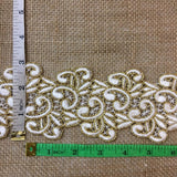 "Gold & Ivory Trim Lace Happy Chappy Design, 2.75"" Wide Double Border. Multi-Use Belt Sash Waistband Garments Crafts Veils Costumes Bridal"