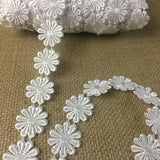 "Lace Trim Daisy Flower Venise Double Border, 1"" Wide, White, Multi-Use Garments Bridal Sash Waistband Decoration Crafts Veils Costumes"