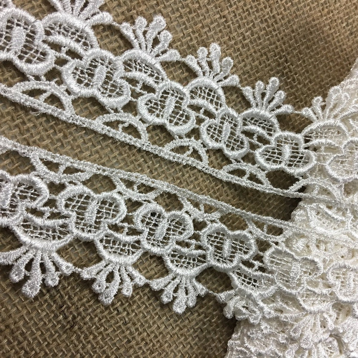 "Venise Lace Trim Happy Fan Design, 2"" Wide, Choose Color, Multi-Use ex: Garments Bridal Decoration Crafts Veils Costumes Table Runner"