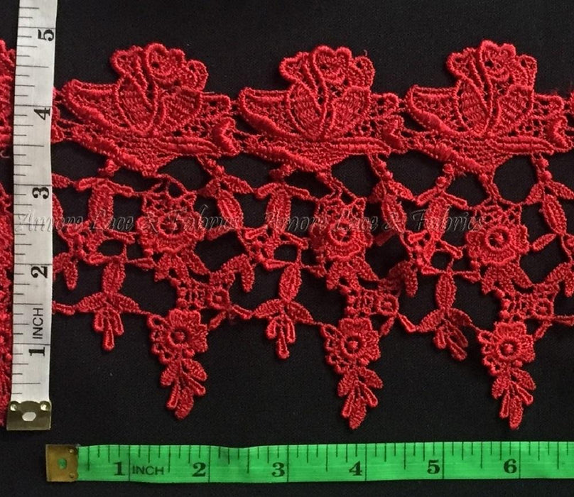 "Lace Trim Classic Rose Garden Design, 5"" Wide, Choose Color. Multi-Use ex: Garments Slip Extender Bridal Crafts Veils Costumes Table Runner"