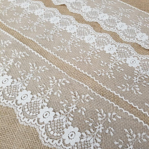 "Raschel Trim Lace Beautiful Classic 4"" Wide, Ivory. Uses: Bridal Wedding Edging Garments Decorations Arts Crafts Table Runner"