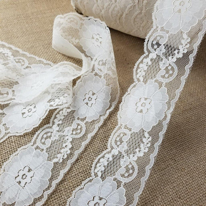 "Raschel Trim Lace Beautiful Classic 2.5"" Wide, Ivory. Uses: Bridal Wedding Edging Garments Decorations Arts Crafts Table Runner"