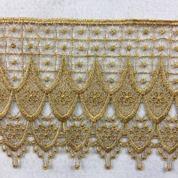Gold Trim Lace Classic Drapes Design Venise, 4.5