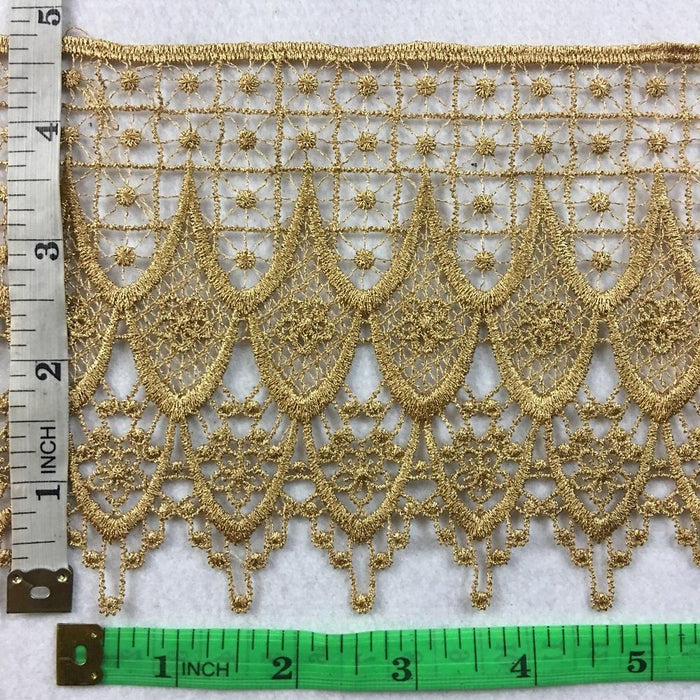 "Gold Trim Lace Classic Drapes Design Venise, 4.5"" Wide, Mixed Yarn Lightly Shiny, Multi-Use Garments Bridal Decoration Slip Extender Crafts"