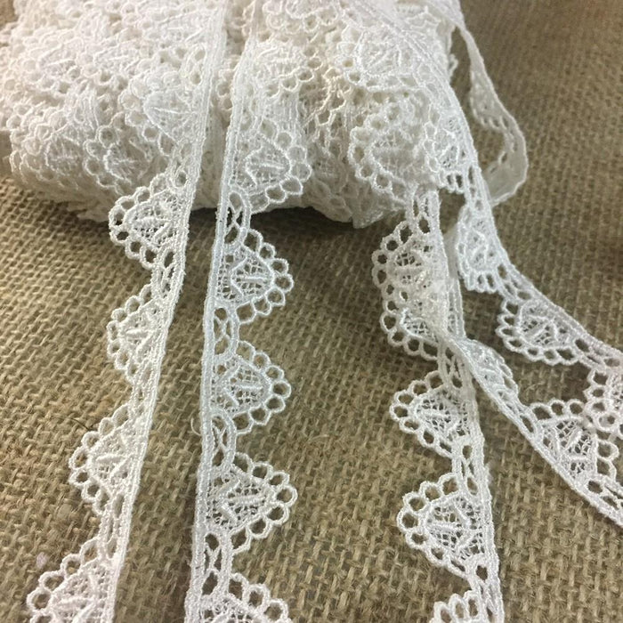 "Lace Trim Classic Scallops 3/4"" Wide Venise Edging, Choose Color, Multi-Use Garments Bridal Decoration Edging Crafts Veils Costumes Table Runner"