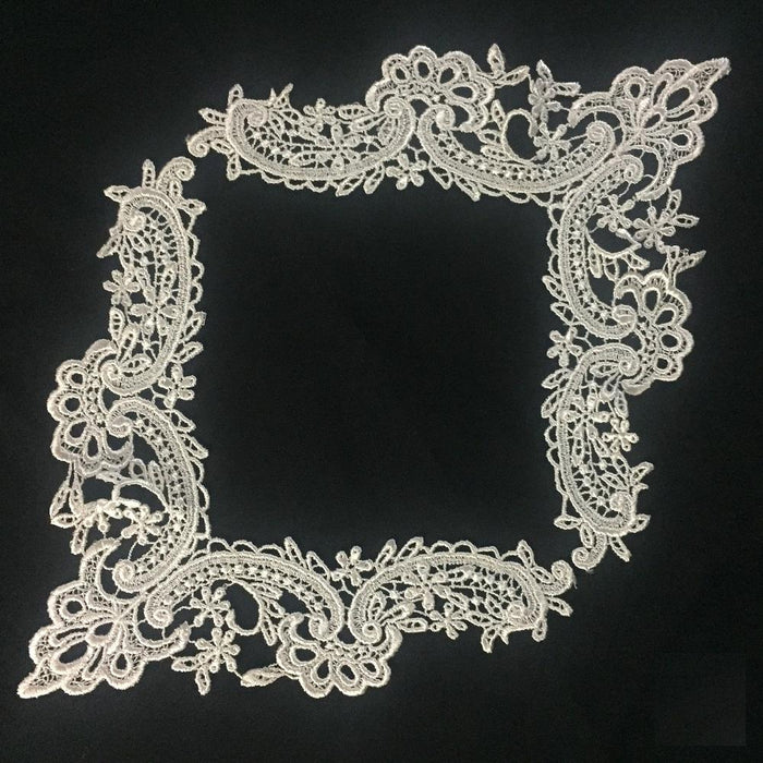 "Lace Applique Neckpiece Venise Yoke Fancy Curves Embroidery Motif Patch, 8.5"" Long, Choose Color, Multi-use ex. Garments Bridal Tops Costumes Crafts"