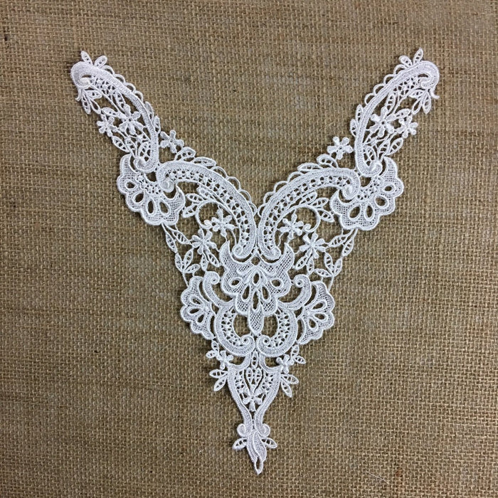 "Lace Applique Neckpiece Venise Yoke Fancy Curves Embroidery Motif Patch, 10""x8"", Choose Color, Multi-use ex. Garments Bridal Tops Costumes Crafts"