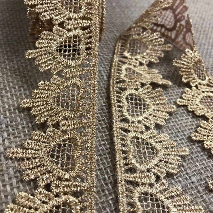 "Metallic Gold Trim Lace Amore Love Hearts Design Lurex 1.5"" Wide Venise, for Garments Decoration Crafts Costumes Veils Scrapbooks and More"