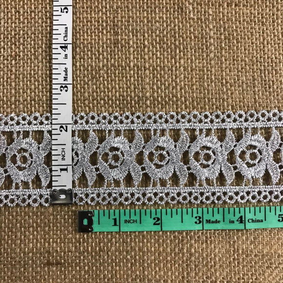 Metallic Silver Trim Lace Rose Double Border Design Lurex 2.25