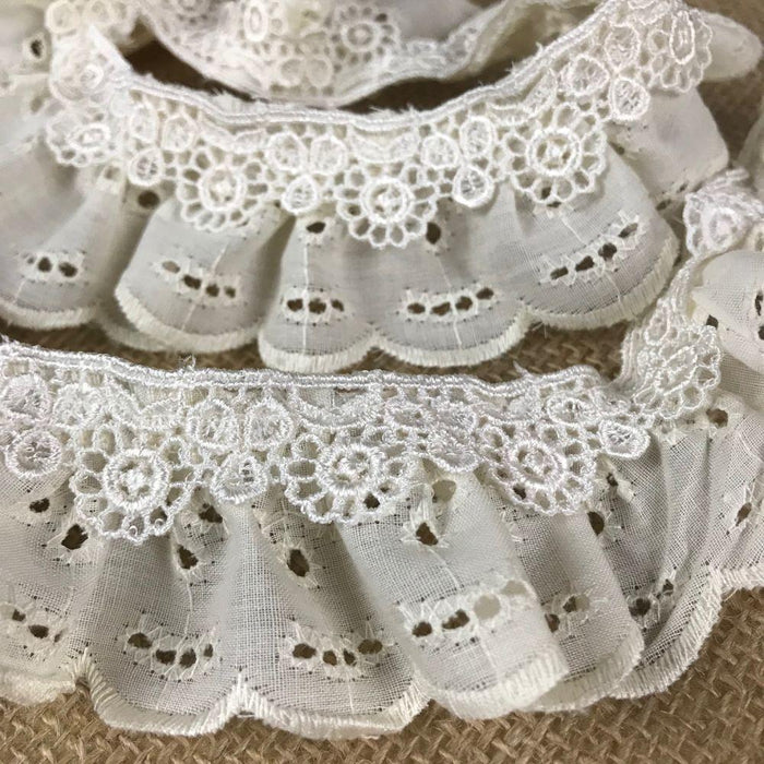 "Ruffled Eyelet Venise Trim Lace, 2"" Wide, Ivory, for Garment Decoration Curtain Towel Pillow etc."