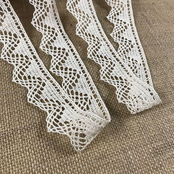 "Cluny Trim Lace Natural Cotton 1.5"" Wide Ivory, Geometric Yardage Vintage, Multi Use: Garments Arts Crafts Costumes DIY Sewing."