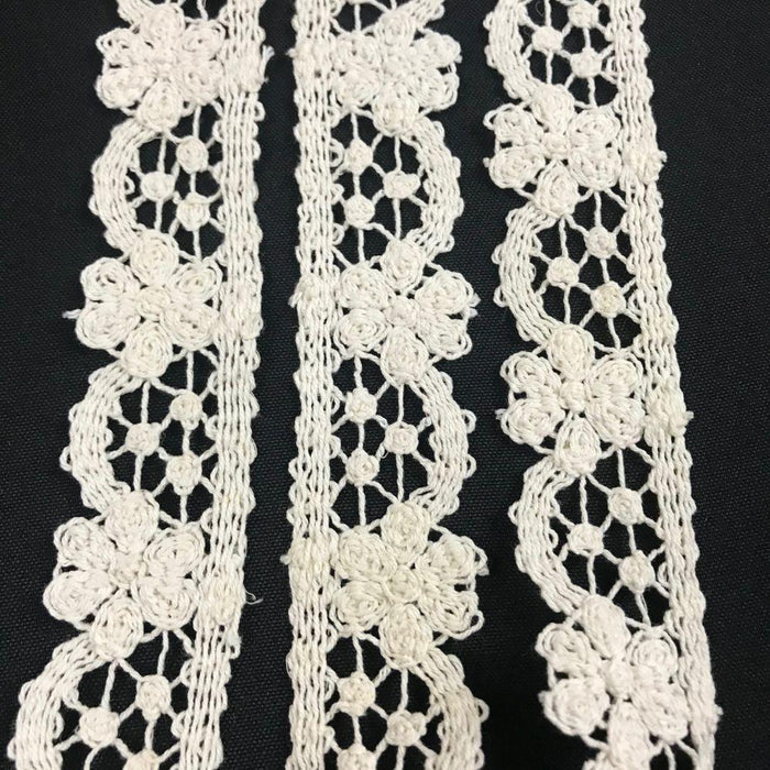 "Cluny Trim Lace Daisy Arch design Natural Cotton 1.5"" Wide Ivory Vintage Antique Edging, Multi Use: Garments Arts Crafts Costumes DIY Sewing"