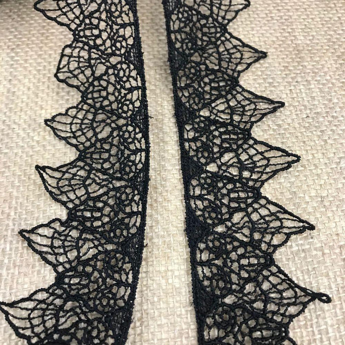 "Lace Trim 2"" Wide Venise Spiderweb, Black. Use for Craft, invitation cards ... This special item BREAKS UP if pulled and should NOT be used for Garments etc."