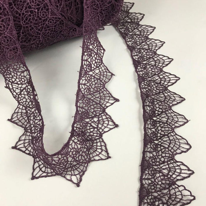 "Lace Trim 2"" Wide Venise Spiderweb Design, Purple, for Garments Tops Decorations Arts Crafts Costumes Veils and more."