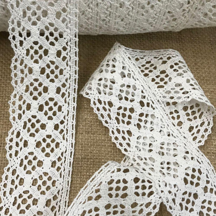 "Cluny Trim Lace Natural Cotton 2"" Wide Off White Yardage Vintage Antique Irish Edging, For Garments Arts Crafts Costumes DIY Sewing Slip Extender"