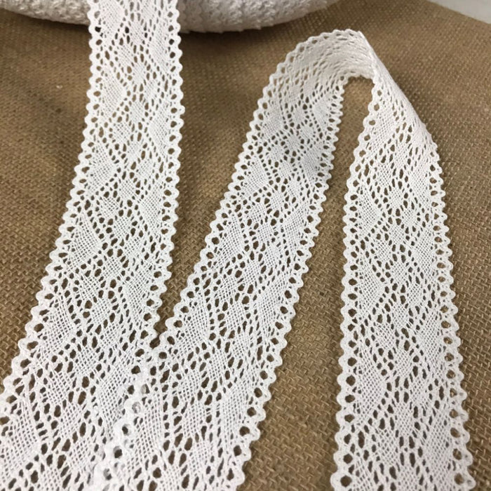 "Cluny Trim Lace Natural Cotton 1.75"" Wide Off White Yardage Vintage Antique Irish Edging, For Garments Arts Crafts Costumes DIY Sewing Slip Extender"