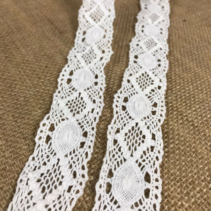 "Cluny Trim Lace Natural Cotton 1.5"" Wide Off White Yardage Vintage Antique Irish Edging, For Garments Arts Crafts Costumes DIY Sewing Slip Extender"