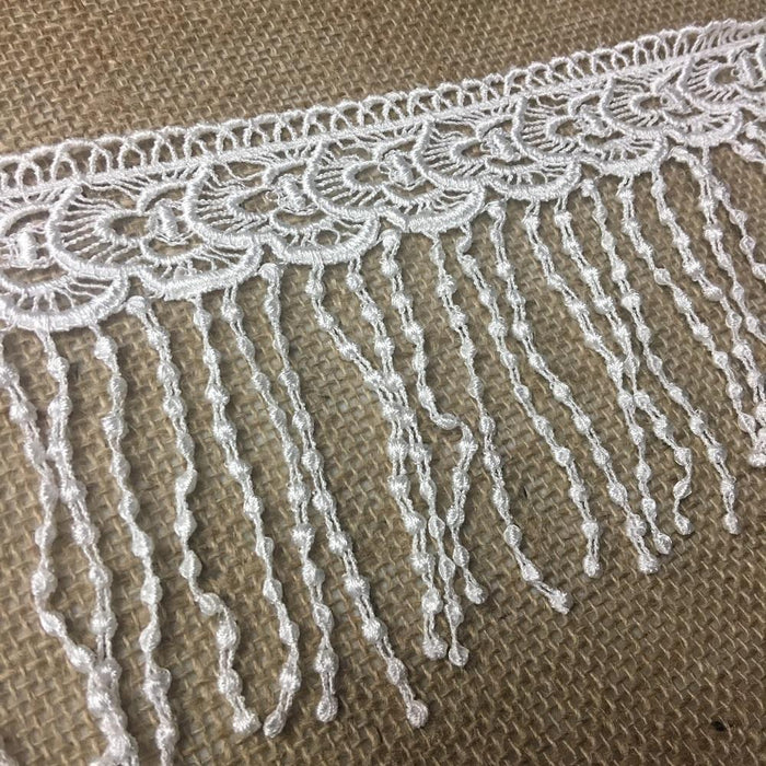 "Fringe Trim Lace 5"" Wide Bohemian Hanging Dots Venise, This item was dyed and the bottom part is somewhat unravelled in some places but can be trimmed. Sold as is at big discount."