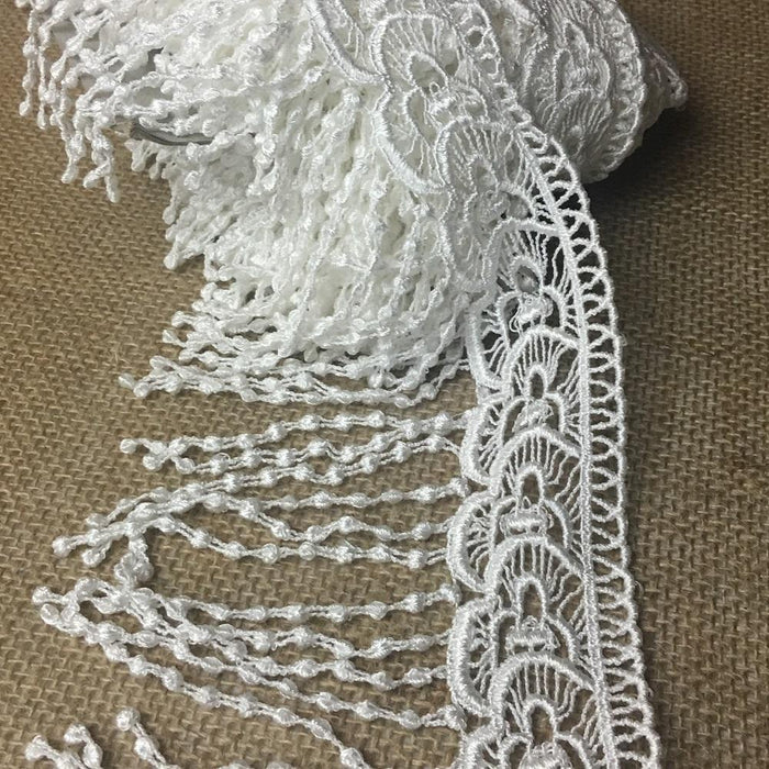 "Fringe Trim Lace 5"" Wide Bohemian Hanging Dots Venise, Choose Color. Multi-Use Garments Bridal DIY Sewing Slip Extender Veils Costumes"
