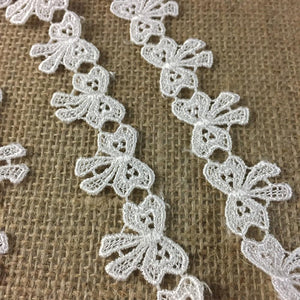 "Lace Trim Bowtie Ribbon Design Venise, 1"" Wide, Choose Color. Multi-Use Garments Children Bridal DIY Sewing Craft Veil Costume Scrapbook"